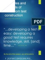 Principles and Methods of Classroom Test Construction
