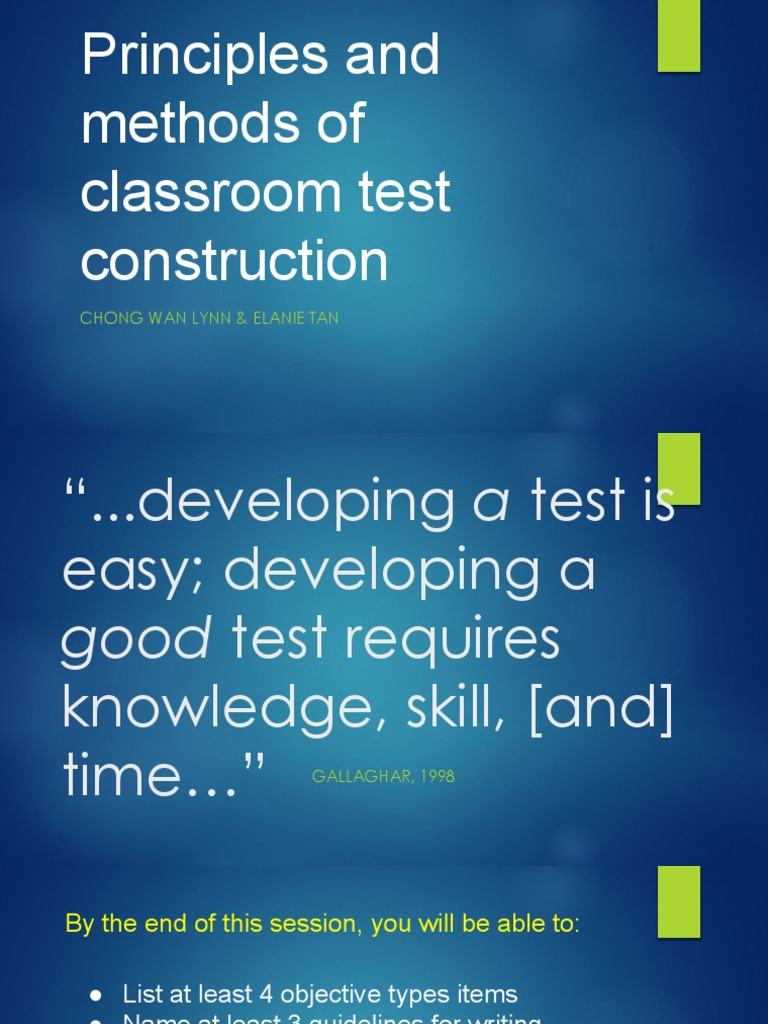 Principles and methods of classroom test construction multiple principles and methods of classroom test construction multiple choice test assessment malvernweather Images