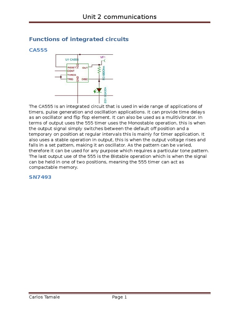 Function Of U1 Ca555 Electronic Circuits Light Emitting Diode Functions Integrated Circuit