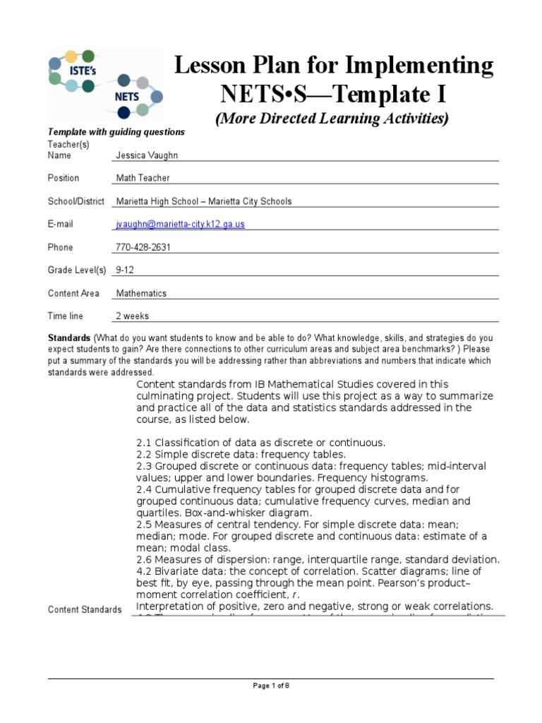 Collaborative Teaching Lesson Plan Template ~ Artifact lessonplantemplate iste jvaughn educational