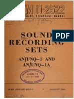 Tm11-2522 Sound Recording Sets an Unq-1 an Unq-1a