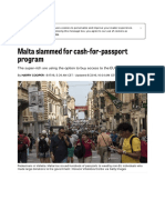 Malta Slammed for Cash-For-passport Program – POLITICO
