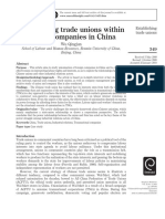 2010-Establishing Trade Unions Within Foreign Companies in China