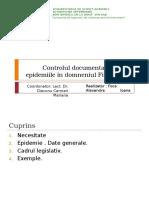 Controlul Documentar Privind Epidemiile În Domneniul Fitosanitar