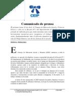 Comunicado de Prensa CEIP 22-04-17
