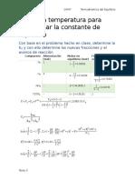 Uso de La Temperatura Para Determinar La Constante de Equilibrio