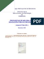 Prats (2004);Propuesta Mejora Educación Secuncaria Cataluña