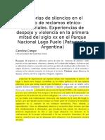 Memorias de Silencios en El Marco de Reclamos Étnico-territoriales.