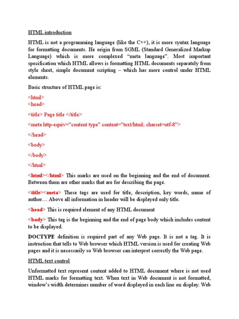 Eng6 Wiki HTML | Html Element | Html