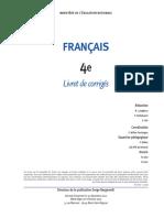 Francais  CNED Livret Corriges Partie 02 4eme