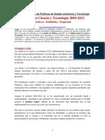 Políticas en Ciencia y Tecnología 2003-2012