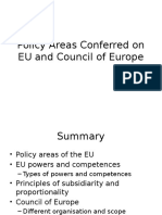 Policy Areas Conferred on EU and Council of Europe