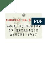 Regulament Concurs Eroi Si Eroism in Bataliile Anului 1917