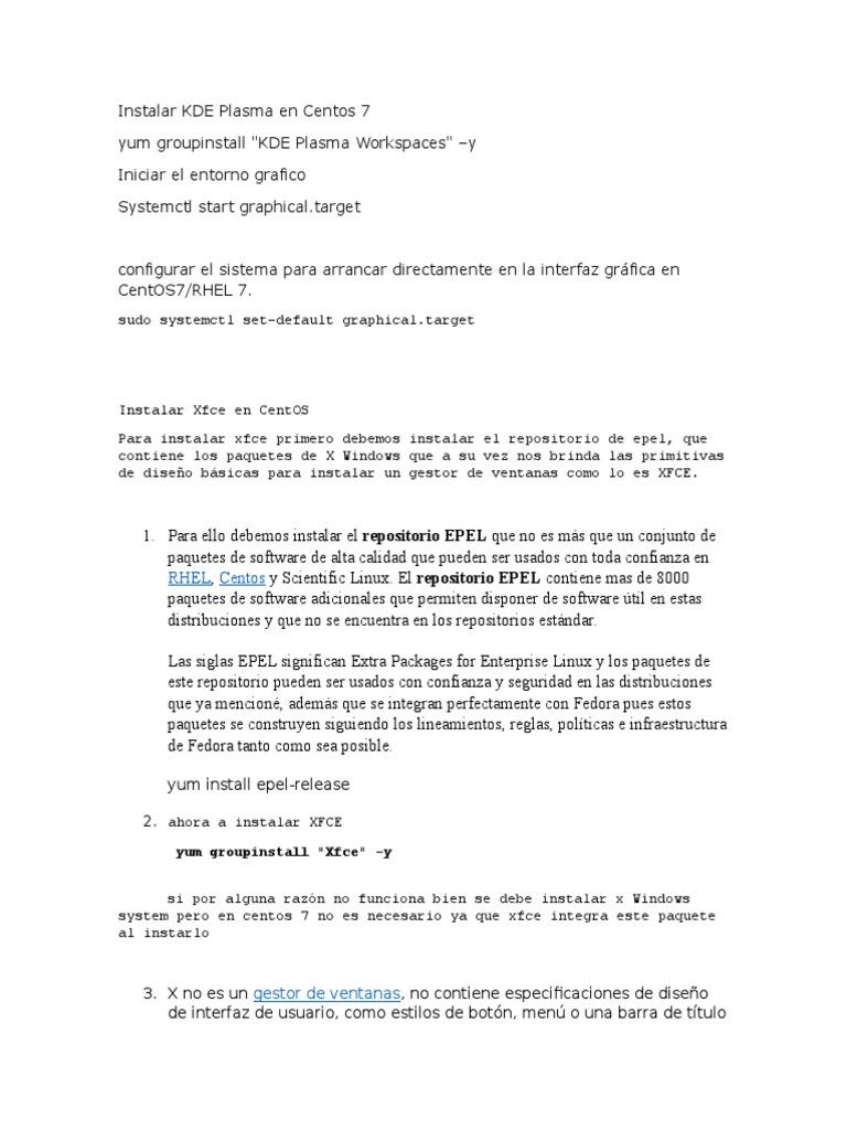 Instalar KDE Plasma en Centos 7