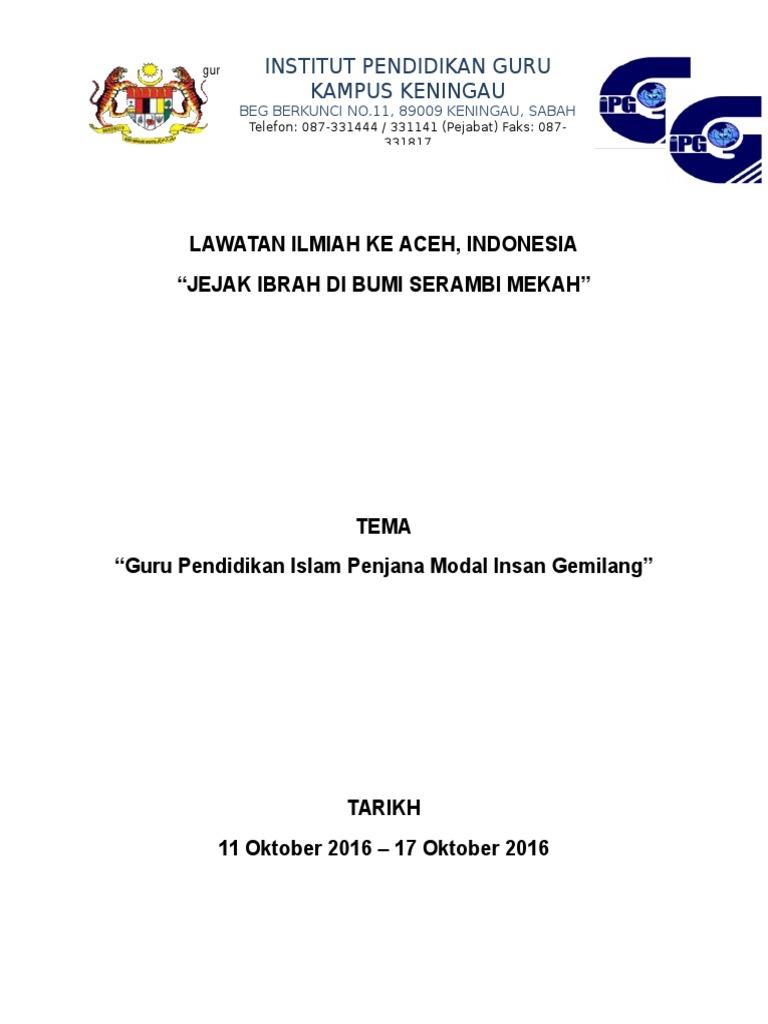 1 Kertas Kerja Lawatan Aceh