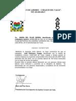 Carta Laboral Del Club Deportivo de Ajedrez Corazon Del Valle