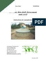 Low-cost, thin-shell, 2m diameter ferrocement tank cover - Rainwater Harvesting