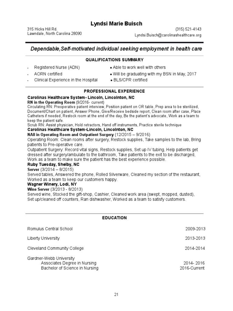 resume 2017  patient  nursing