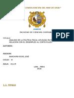 Análisis de La Política Fiscal Aplicada en El Perú y Su Relación Con El Desempleo Al Corto Plazo