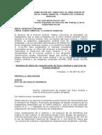 Modelo de Comunicación Del Sindicato Al Empleador de Protegidos Por El Fuero Sindical y Pedido de Licencia Sindical - José María Pacori Cari