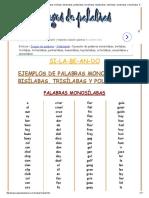 Ejemplos de Palabras Monosílabas, Bisílabas, Trisílabas, Tetrasílabas, Pentasílabas, Hexasílabas, Heptasílabas, Octosílabas, Eneasílabas y Decasílabas. Palabras Polisílabas