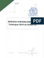 Catalogue Dinterconnexion 2016 SONATEL