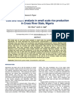 Cost and Return Analysis in Small Scale Rice Production in Cross River State Nigeria