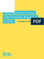 Preparing for the Gdpr 12 Steps