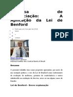 Despesa de Depreciação a Aplicação Da Lei de Benford
