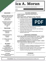 moran jessica teaching resume - alternate  website version