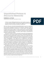 Unpublished Preface to Discourse Networks FRIEDRICH A. KITTLER