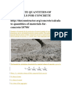 Calculate Quantities of Materials for Concrete Design by Volume Ratio