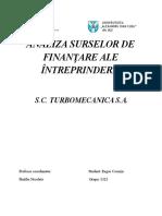 Analiza surselor de finantare ale intreprinderii