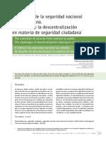 El Transito de La Seguridad Nacional a La Ciudadana. Los Retos de La Descentralización en Materia de Segu