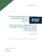 Een hervorming van de regularisatie van studieperiodes in de Belgische pensioenregelingen - Raming van de budgettaire effecten