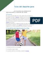 Los Beneficios Del Deporte Para Los Niños. Sor Maria del Mar y Valerye