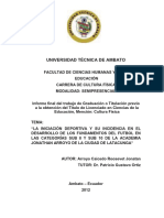 Tesis JONATHAN ARROYO Buenisimo Tecnica, Tactia e Iniciacion Deportiva