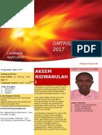 Completed GMTP, GAAP & GAP -Bio Data Form