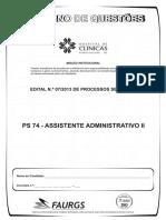 PROVA HCPA Assistente Administrativo II