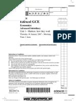 Question Paper Jan 2007 Unit-1