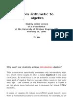 Arithmetic to Algebra Wu