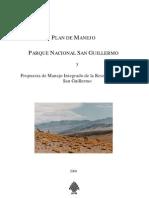 Plan de Manejo del Parque Nacional San Guillermo y Propuesta de Manejo.Argentina