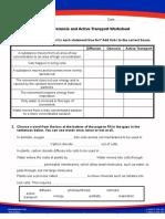 Grade 9 Diffusion Osmosos Worksheet