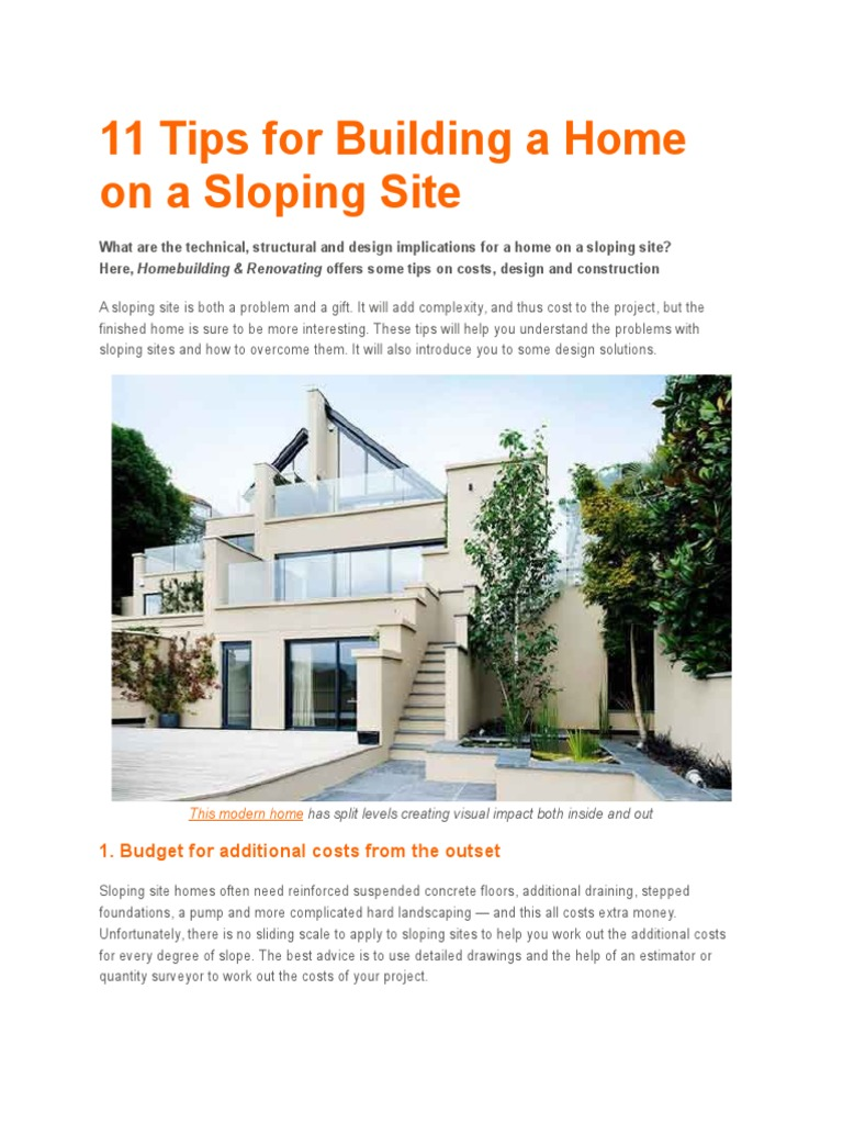 11 Tips for Building a Home on a Sloping Site | Sanitary Sewer ...