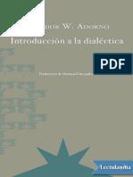 Introduccion a La Dialectica - Theodor W Adorno