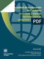 Calidad educacion Colombia un analisis y algunas opciones para programa de politica.pdf