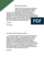 parent letter fourth grade