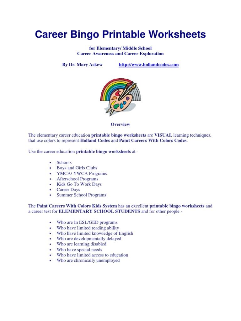 Career Bingo Printable Worksheets – High School Printable Worksheets