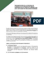 Manual Para La Implementación de La Estrategia de Reforzamiento a Través de Los Especialistas Para El Reforzamiento Pedagógico en Las Áreas de Comunicación y Matemática Para El 2do Grado de Educación Secundaria de Las Iiee Jec