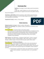discharge plan patient teaching pleural effusion castle
